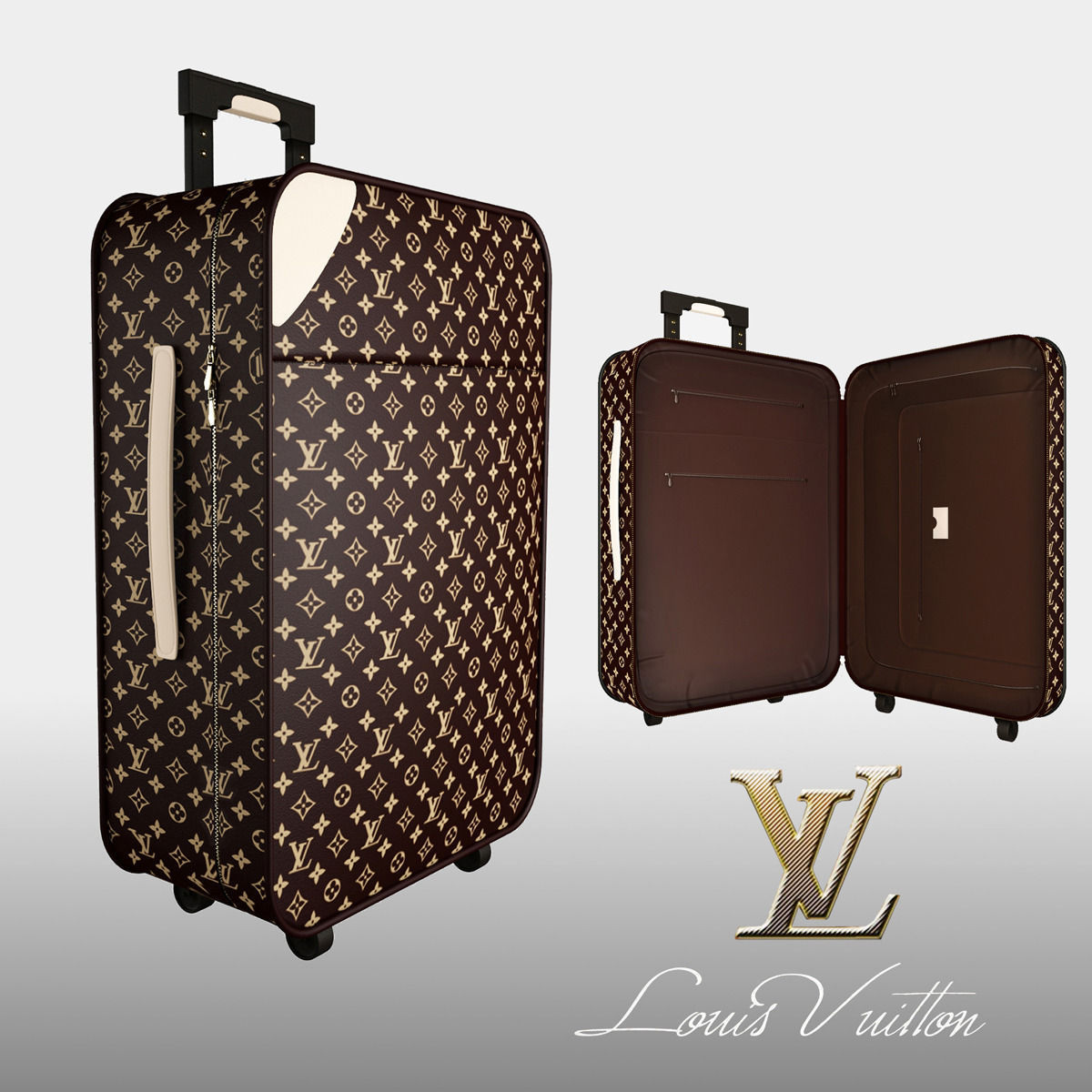 Louis Vuitton Luggage Bag 3d Model Max Obj Mtl Fbx 1