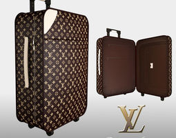 louis vuitton luggage bag 3d model max obj fbx