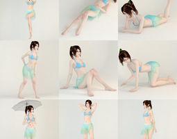 10 poses of Natsumi in bikini 3D