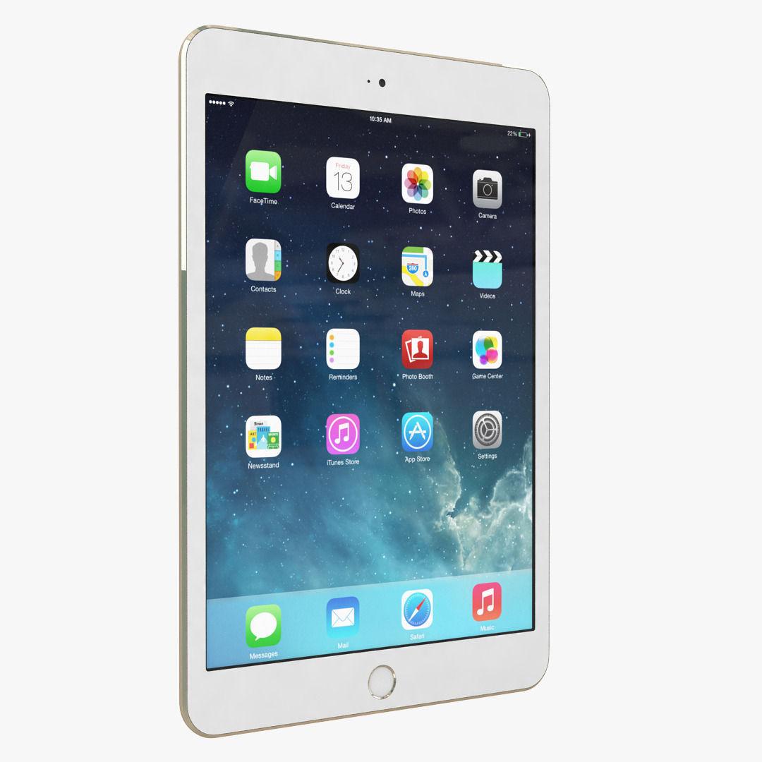 Apple iPad Mini 3 Gold 3D Model .max .obj - CGTrader.com