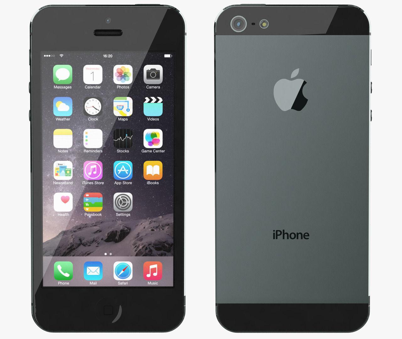 Apple Iphone 5 Black Slate 3d Model Max Obj 1