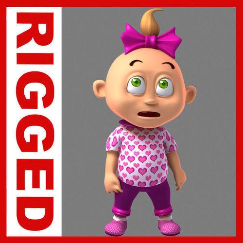 Girl baby cartoon rigged 023D model