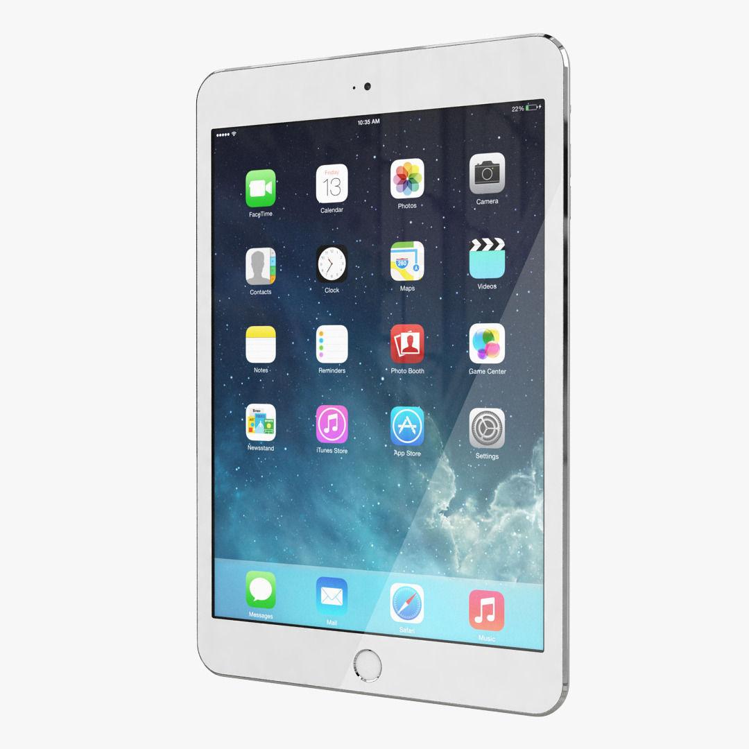 Apple iPad Mini 2 All Color 3D Model .max .obj