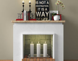 rigged decorative fireplace with accessories 3d model
