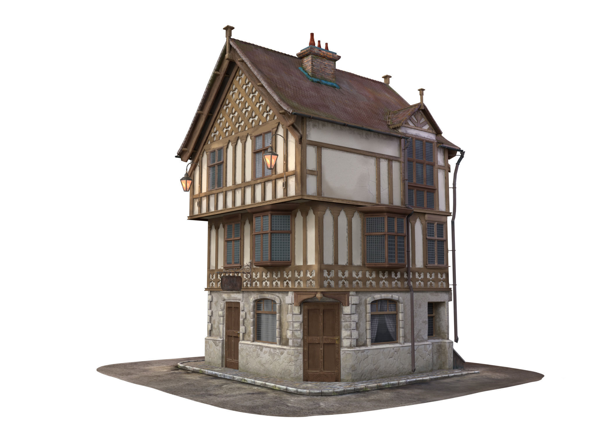 Medieval house 3d model max obj lxo lxl mtl House 3d model