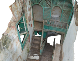3d model old stairway in abandoned house - hd scan