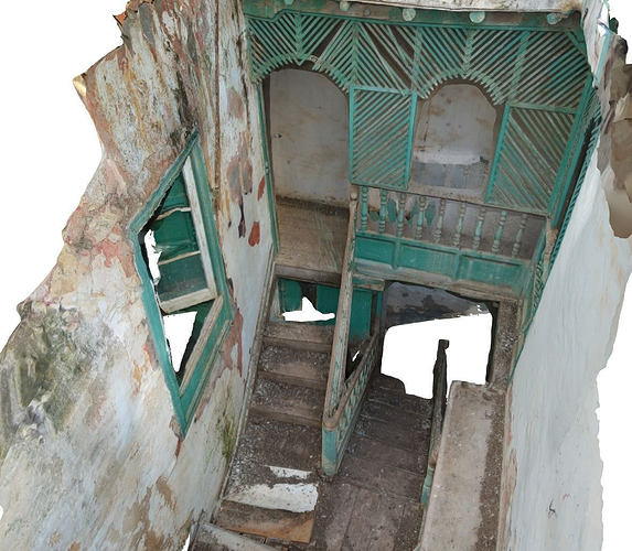 old stairway in abandoned house - hd scan 3d model obj mtl 1
