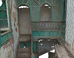 low-poly 3d model old stairway in abandoned house - lowpoly