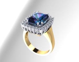 Diamond end sapphire ring 3D Model