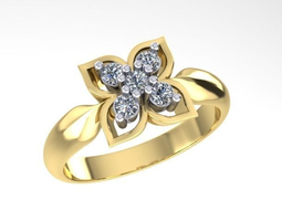 Ring  with five diamonds 3D Model
