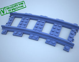Lego Train Track Curved w Support 3D