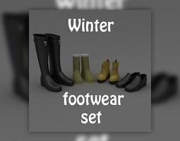 3d model game-ready footwear set winter