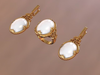Beautiful set with oval cabochons 3D Model