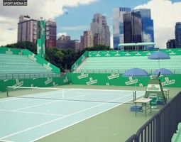 game-ready tennis arena 3d model