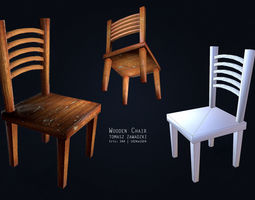 Wooden Chair - Low Poly 3D Model