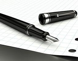 elegant fountain pen 3d