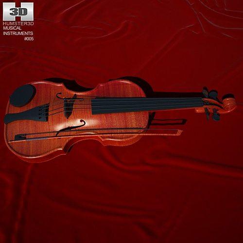 violin 3d model max obj 3ds fbx c4d lwo lw lws 1