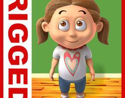 Girl baby cartoon rigged 03 3D Model