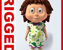 Girl baby cartoon rigged 04 3D Model
