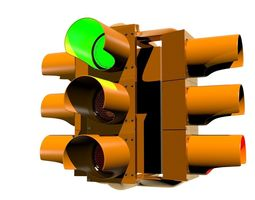 3d model traffic light - four way