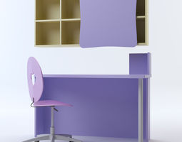 Heart Chair Desk Shelving 3D Model