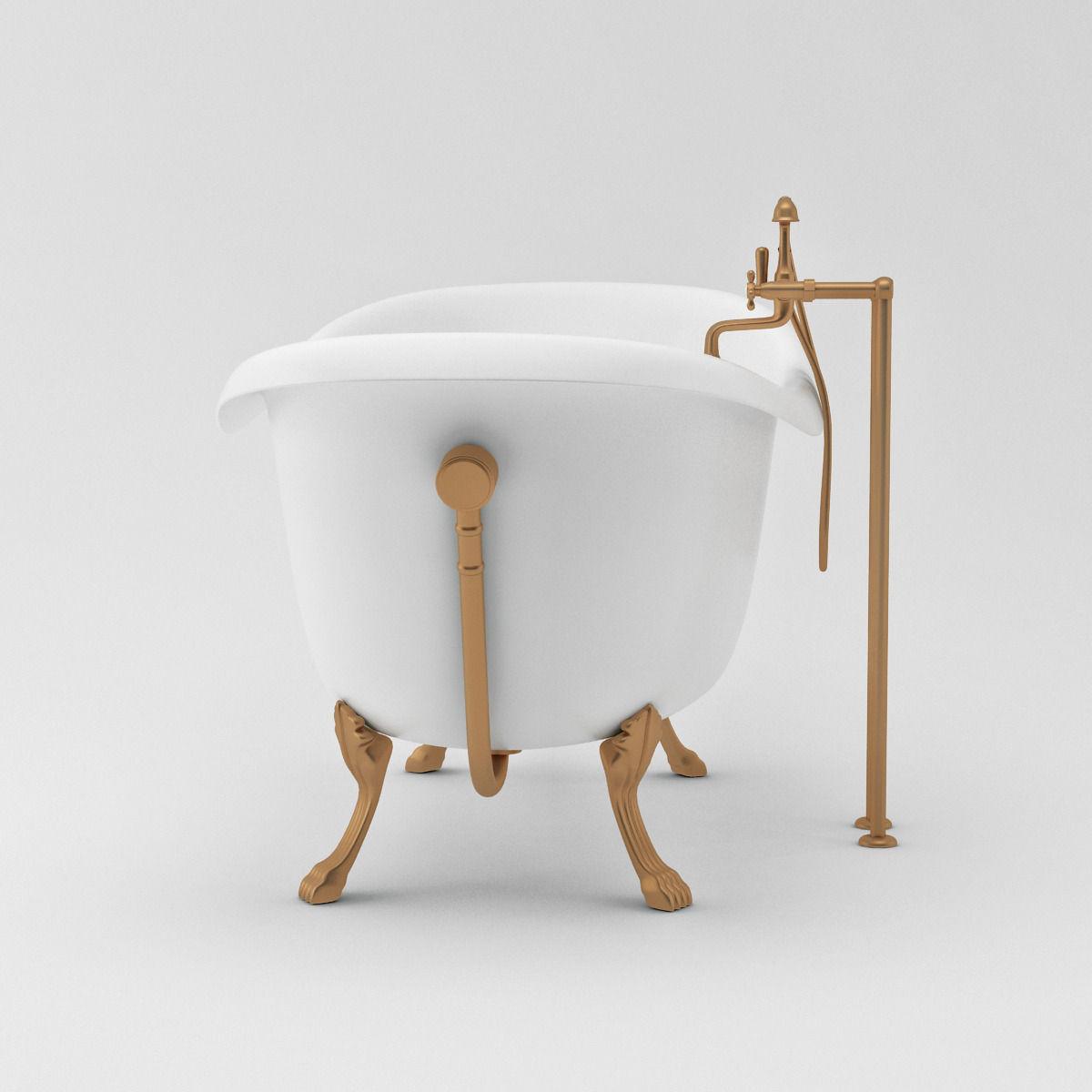 White Vintage Bath Tub 3d Model Max
