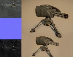 3d model game-ready minigun turret