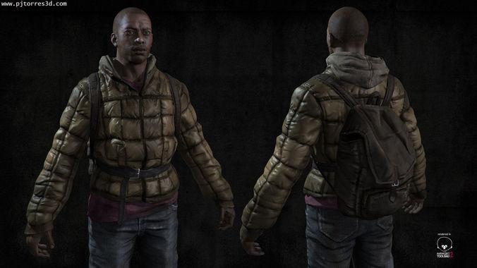 black man sur 3d model low-poly max obj tga 1