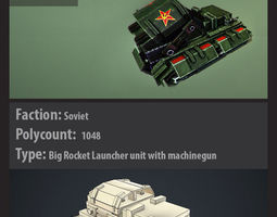 Red alert soviet style tank with animation v001 3D Model