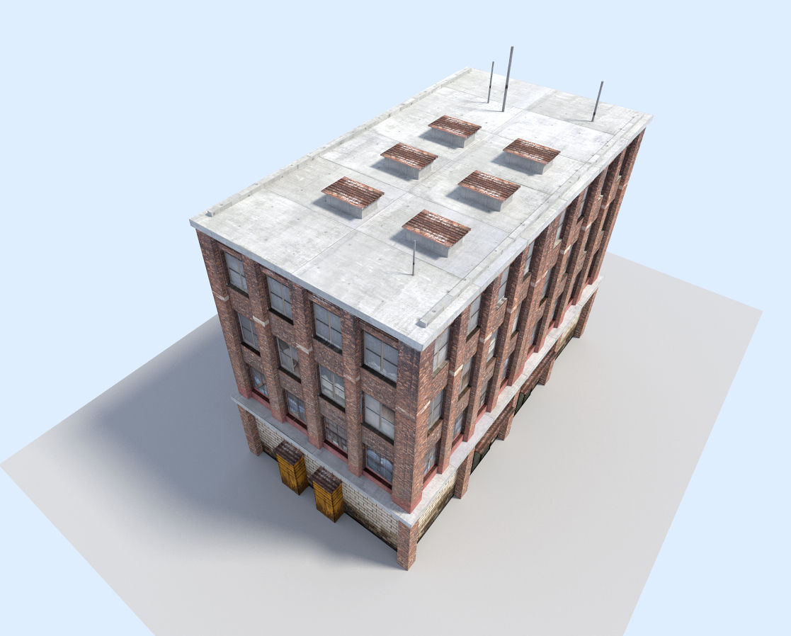 City flat house 3d model game ready obj 3ds fbx blend for Model flat pictures