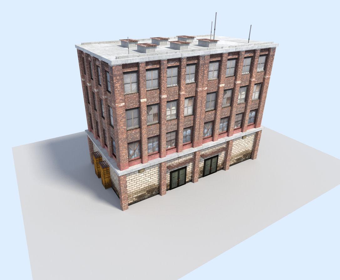 City flat house 3d model game ready obj 3ds fbx blend for Model of flat