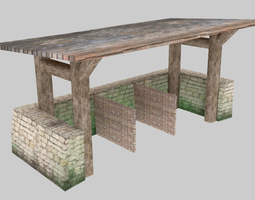 Medieval stable low poly 3D asset