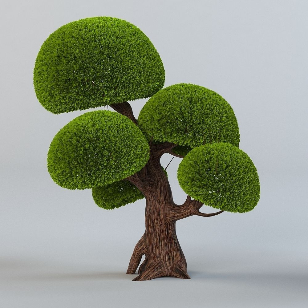 Cartoon trees set 3D Model MAX OBJ | CGTrader.com