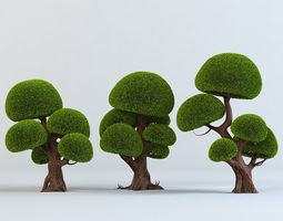 Cartoon trees set 3D
