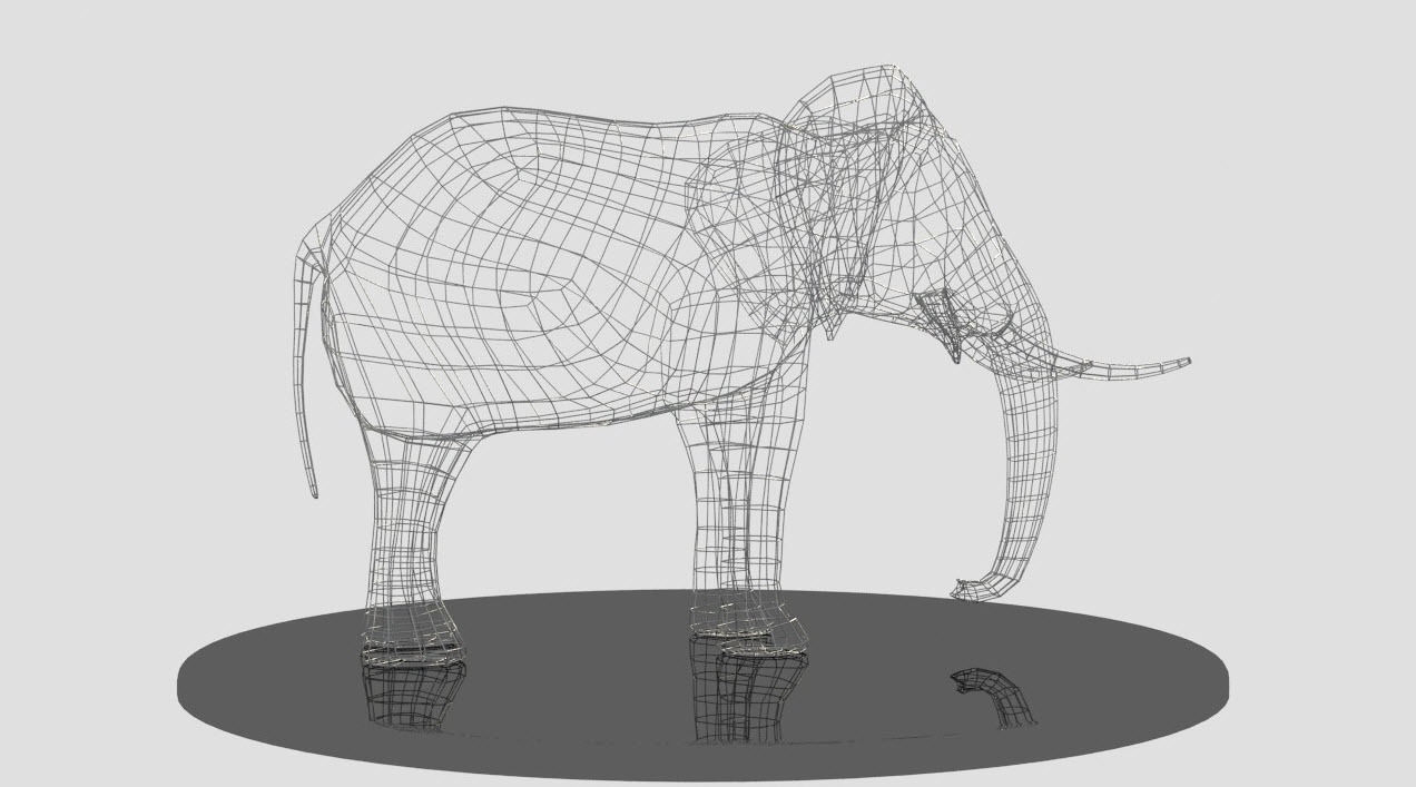 Elephant metal wire sculpture 3d model max obj fbx for 3d wire art
