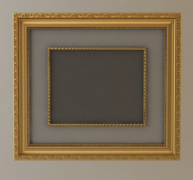 3D model Gold Wall Picture Frame   CGTrader