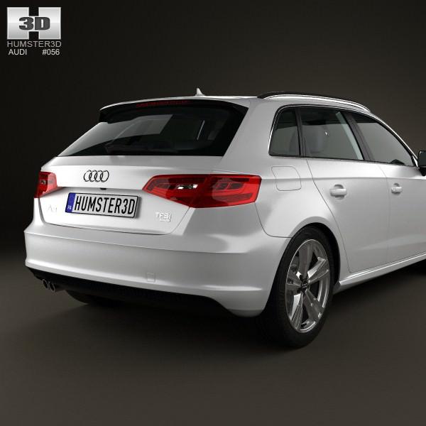 audi a3 sportback s line 2013 3d model max obj 3ds fbx c4d lwo lw lws. Black Bedroom Furniture Sets. Home Design Ideas