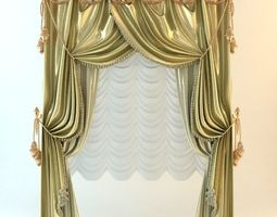 3D model Elegant Baroque Wide Curtains