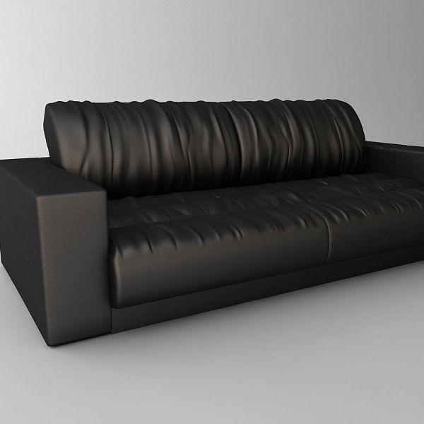 Soft Leather Sectional Sofa: Soft Leather Sofa 3D Model .max .obj .3ds .fbx