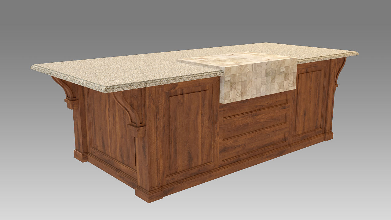 Colonial Kitchen Island Model Max Obj