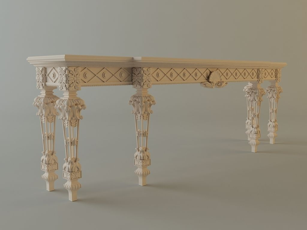 white baroque console table 3d model max obj. Black Bedroom Furniture Sets. Home Design Ideas