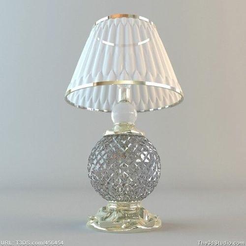 crystal base table lamp 3d model max obj 3ds fbx. Black Bedroom Furniture Sets. Home Design Ideas