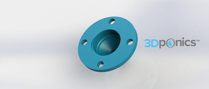 4-hole drip nozzle - 3-8 inch 3dponics drip hydroponics 3d model obj mtl stl sldprt sldasm slddrw 1