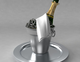 champagne bottle and bucket of ice 3D Model