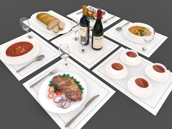 Food and drink 3d model game ready max obj 3ds fbx for Food bar 3d model