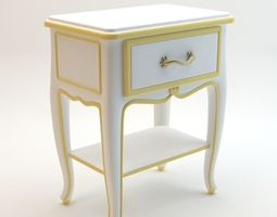 White Classic Nightstand 3D model