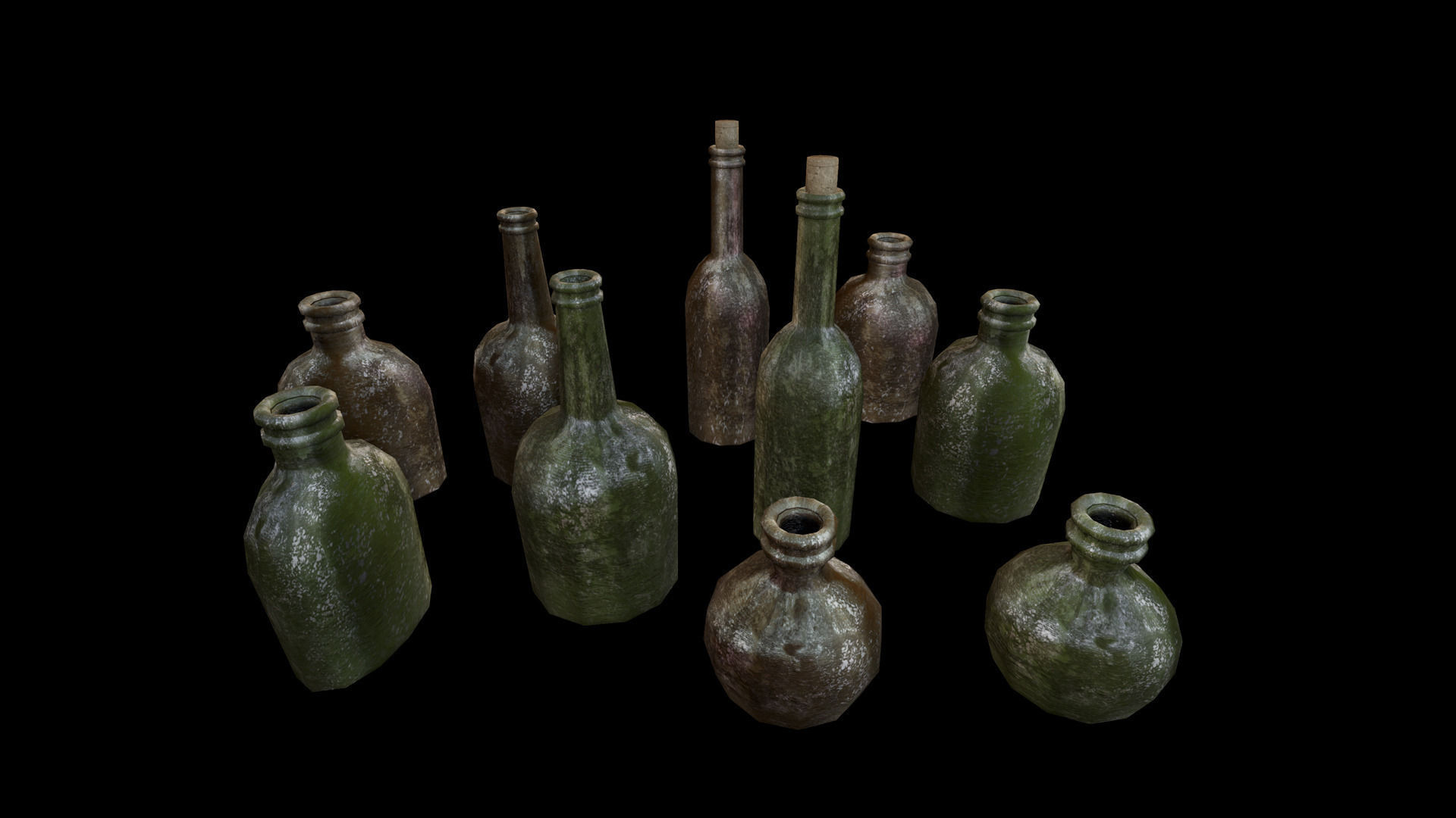 Old wine bottles 3d model game ready fbx for What to make with old wine bottles