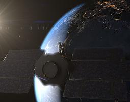 photorealistic earth and cloudsat satellite animated 3d model