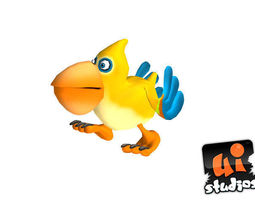 animated toon bird 3d model game-ready