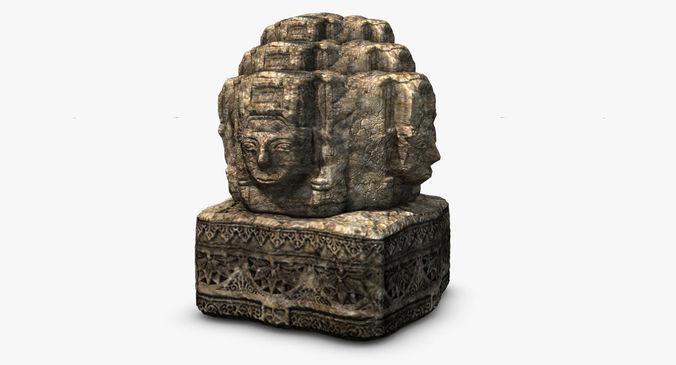 Ancient angkor stone head3D model
